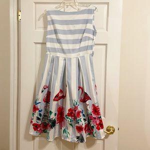 New! Vintage-Inspired Striped Flamingo Swing Dress